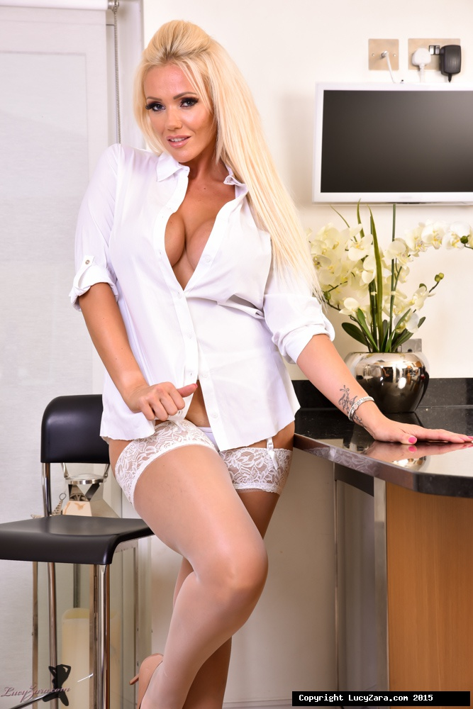 Blonde bombshell Lucy Zara masturbating in the kitchen with her big boobs out  950768